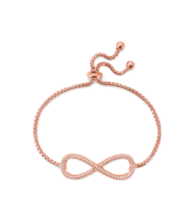 Rose Gold Plated CZ Infinity Toggle Bracelet - 5010.3692