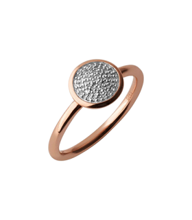 18ct Rose Gold Plated Vermeil Diamond Pave Ring M - 5045.5502