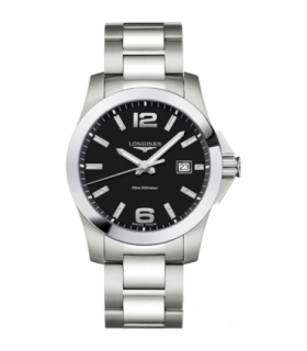 Conquest Black Quartz Watch 41MM - L3.759.4.58.6