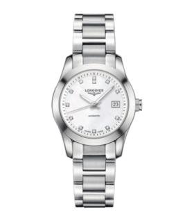 Longines Conquest Classic White MOP Diamonds Automatic Watch 34MM - L2.385.4.87.6