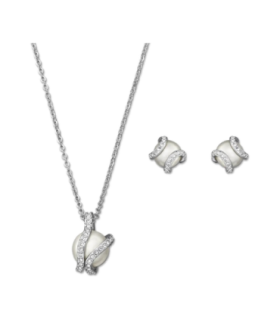 Pearls Nude set necklace and earrings - 1081922