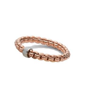 Fope fope flex'it eka bracelet 18ct rose gold diamond set 0.21ct - 604B PAVE 18P