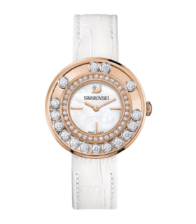 Swarovski Watches lovely crystals rgp mop dial white leather strap quartz watch - 1187023