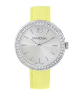 Swarovski Watches daytime silver face yellow leather strap quartz watch - 5095643