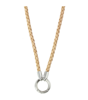 Mi Moneda leather steel cream 60 necklace - NEC-04-29-60