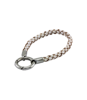 Mi Moneda leather steel white bracelet - BRA-04-13-19
