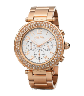 Folli Follie beautime chrono cz rose gold plated quartz watch - WF1B021BES - 6010.0405