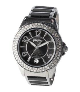 Folli Follie glow cz steel ceramic quartz watch - WF6A067BDK