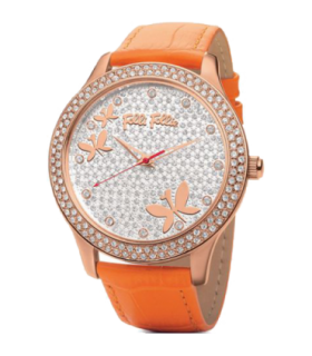 Folli Follie chryssalis cz rose gold plated orange leahter quartz watch - WF0B043SSG - 6015.1364