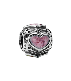 Pandora moments 925 sterling silver pink heart enamel charm - 790591EN28