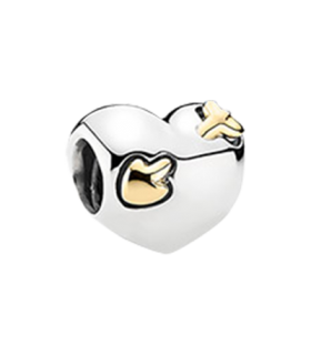Pandora moments 925 sterling silver 14ct yellow gold heart charm - 791171