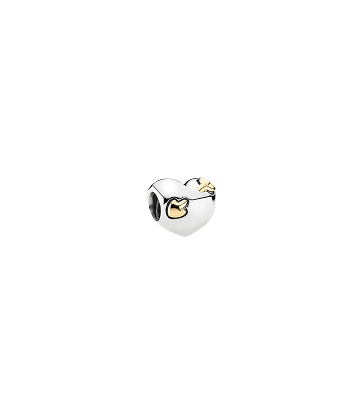 Silver Yellow Plated Rose With Heart Charm 39mm