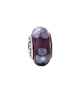 Pandora moments 925 sterling silver purple flower murano charm - 790643