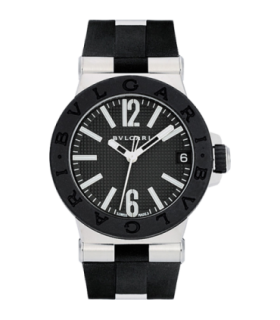 Bulgari Watches Diagono 29 mm black dial rubber quartz watch - DG29BSVD - 101607