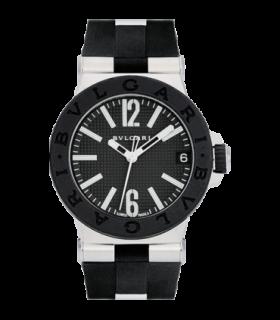 Bulgari Watches Diagono 29 mm black dial rubber quartz watch - DG29BSVD - 101607