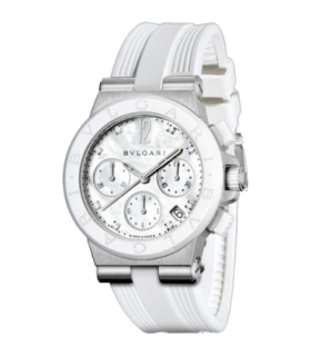 Bulgari Watches Diagono 37 mm chrono wht rubber dia autom watch - DG37WSCVDCH/8 - 101993