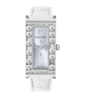 Swarovski Watches lovely crystals square ss/wht quartz watch 21x33mm - 5096680