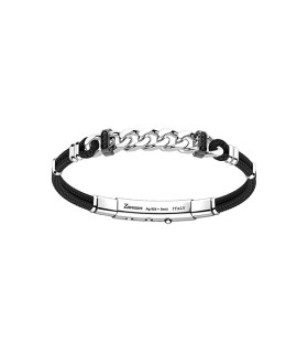 Silver bracelet with black - EXB800-NE