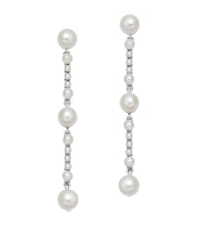 Orbs drop earrings silver pearls - 5040.3373