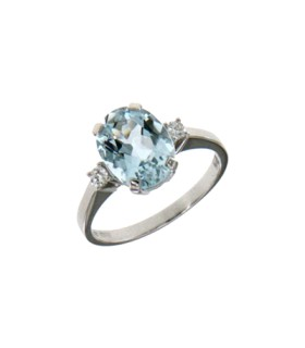 Aquamarine diamond ring 0.90ct - LF128/30AC