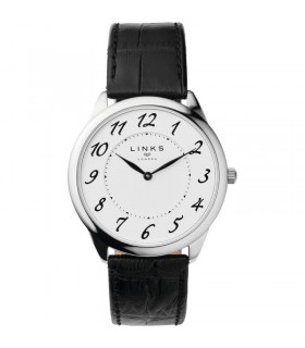 White face black leather Qtz watch - 6020.1190